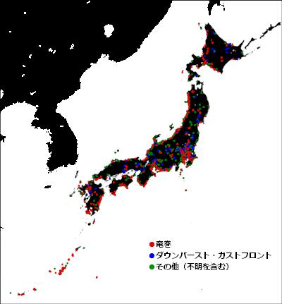 突風発生の分布図